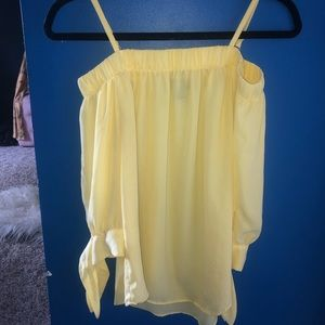 A. Byer Tops - Yellow nylon sheer off the shoulder blouse
